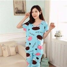 New Womens Casual Pajamas Set Cartoon printing Round Neck Short sleeve  Pyjamas Summer lovely Nightwear cozy be366b265