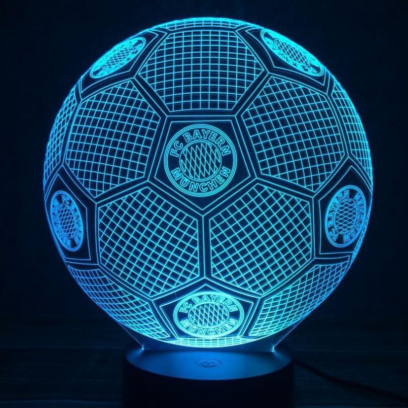 3D Soccer 7 Colori Che Cambiano 3D Illusione di Calcio Lampada Night Lights Desk Luminaria Lamparas