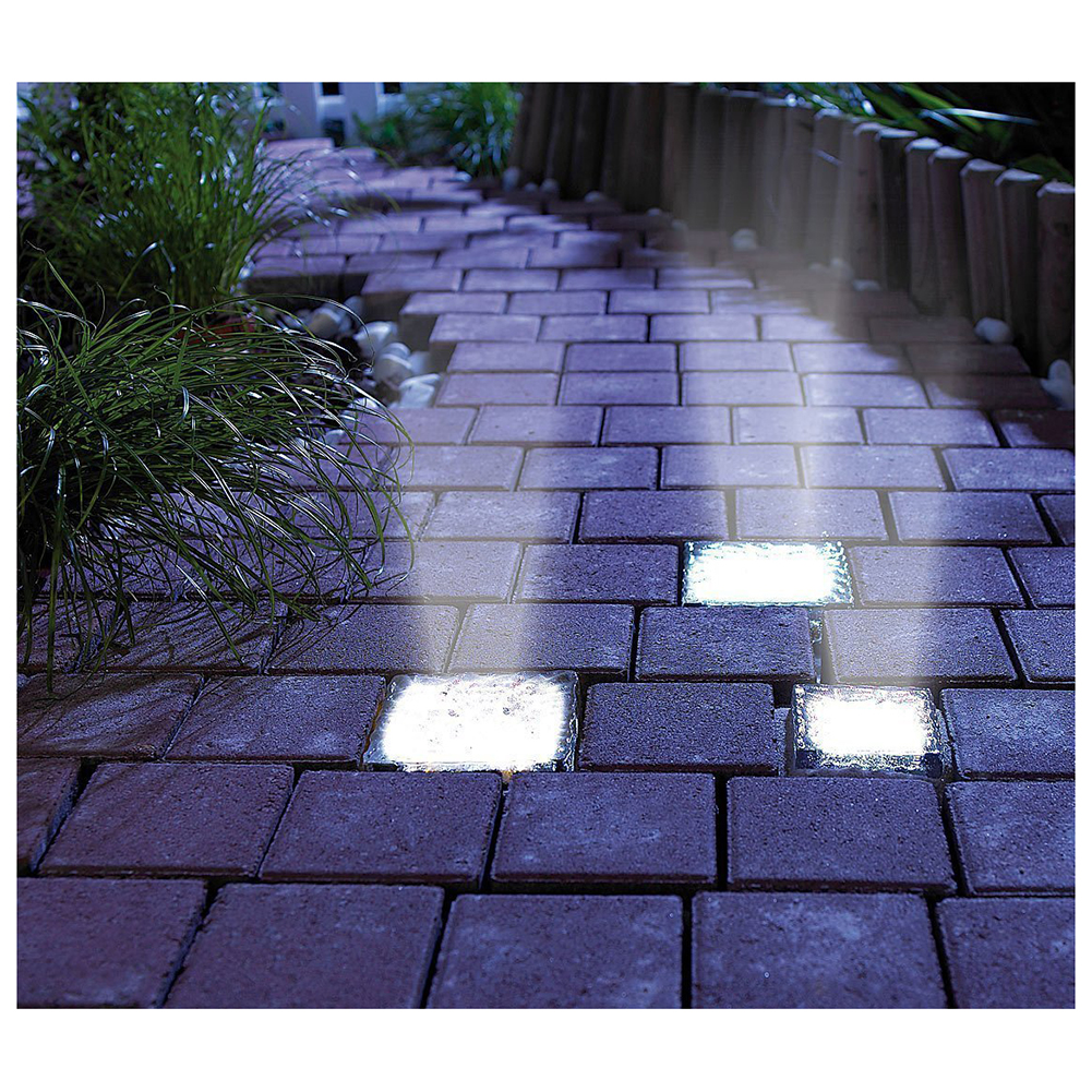 BIFI-3Pack LED Buried Underground Brick Rock Lamp Waterproof Solar Pathway Garden Yard L ...