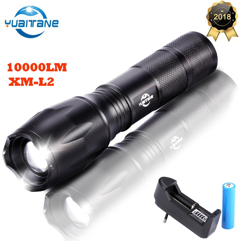 10000 Lumens LED Rechargeable Flashlight L2 linterna torch By 18650 Battery for Camping Riding Powerful Led Flash light