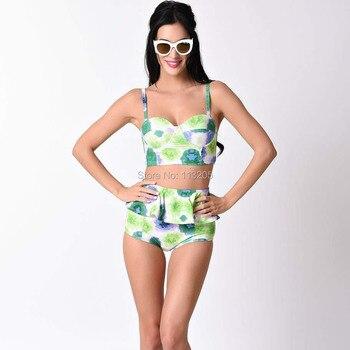 2017 Women Green Abstract Floral Bikini Set High Waist Peplum Swim Bottom Push Up Swimwear Top Female Swimsuit Plus Size L-3XL swimsuit top