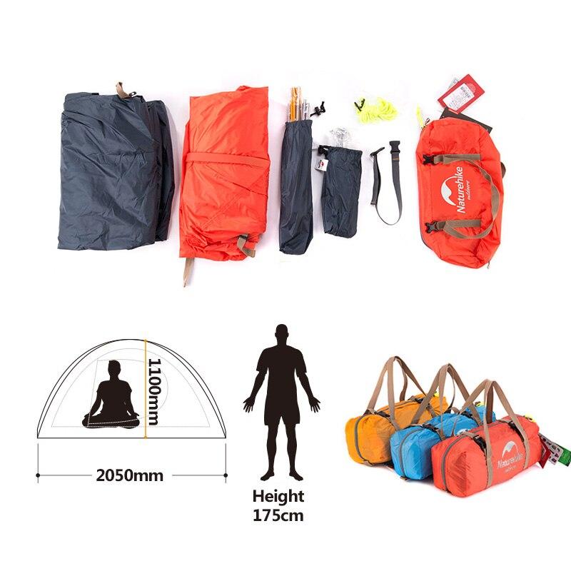 Naturehike уличная палатка с ковриком для кемпинга 1 человек 20D силиконовая ткань 4 сезона Сверхлегкая двухслойная палатка 1,3 кг 1,5 кг - 5