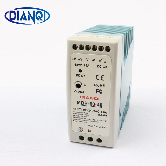 High quality din rail power supply switch MDR-60-48  60W 48V output DIANQI Switching