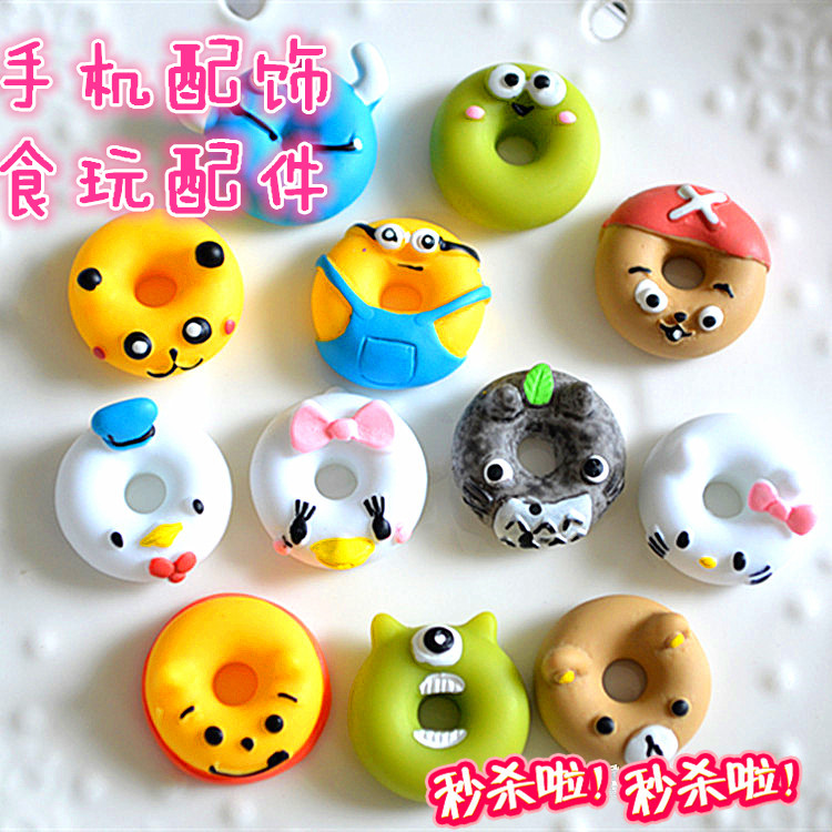 Mobile phone decorative props super cute classic cartoon characters, sweet ring DIY resin parts manual material