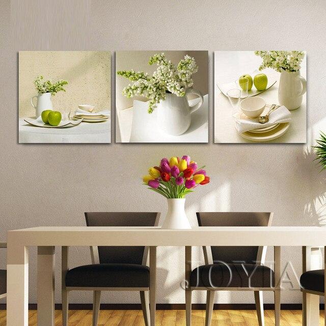 3 piezas de vajilla blanca y pintura de lienzo de flores Comedor ...