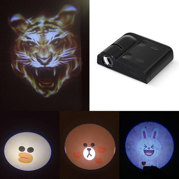2PCS Cartoon Wireless Car Shadow Door Light Laser Projector Logo Led Welcome Lamp For Mini Cooper JCW Car-styling Accessories