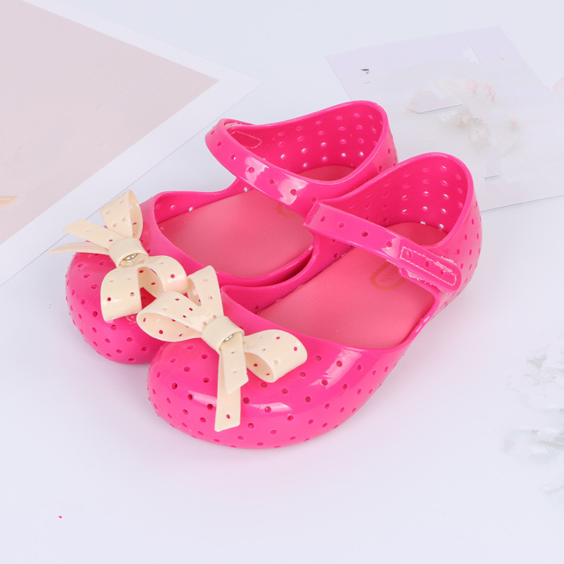 Mini Melissa Cute Bowtie Girl Jelly Sandals 2018 Sandals Bow Princess Shoes Melissa Children Beach Shoes Jelly Children Shoes
