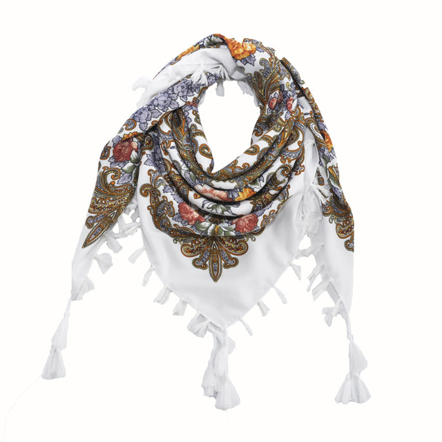 [FAITHINK] Fashion Russian Women Tassel Square Scarf Shawl Lady Printed Floral Short Tassel Headband Bohemia Cape Wrap Scarves
