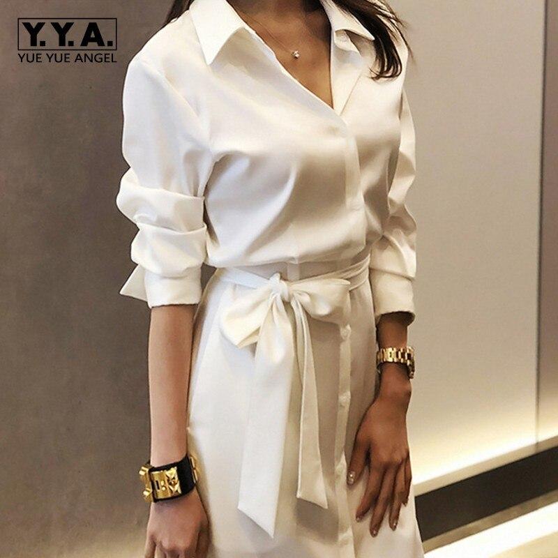 Bureau dames blanc chemises robe partie Maxi longue Sexy haute Split robes décontractées femmes ceinturée Slim taille copain chemise robe
