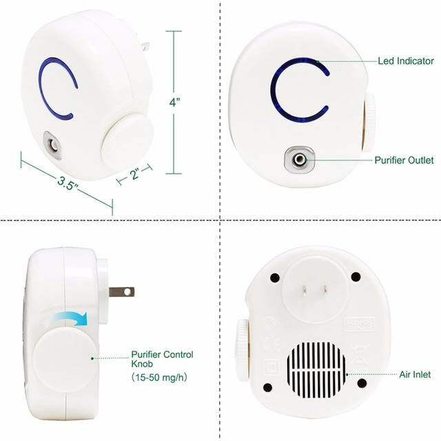 Ship From Russia Portable Ozone Air Purifier 0-50mg/h Adjustable Ozone Deodorizer Pet House Restroom Smoke Bacterias Eliminator
