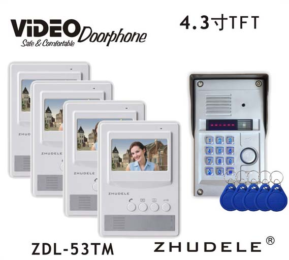 ZHUDELE Home Security 4.3 Inch Video Door Phone Metal Outdoor Camera with Password&ID Card Unlock,Waterproof Cover ZDL-53TM 1V4