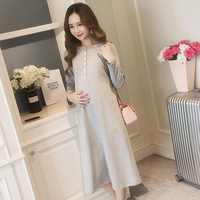 BONJEAN New Autumn And Winter Fashion Maternity Dress Long Breastfeeding Dress For Pregnant Women Loose Pregnancy Clothing