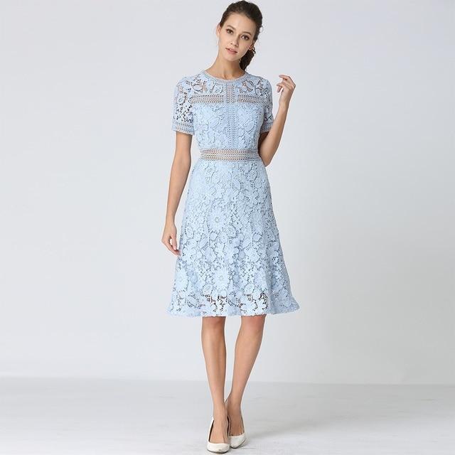75f3c2e8715d Shetelisi Women Lace Dress Light Blue Color Hollow out Designs Party  Dresses Casual Slim Elegant Ladies Clothes sd051