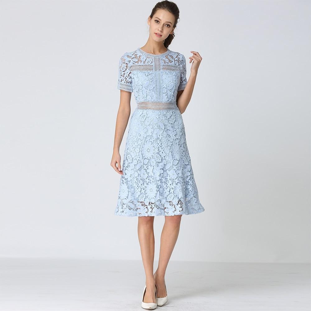 Shetelisi Women Lace Dress Light Blue Color Hollow out Designs Party Dresses Casual Slim Elegant Ladies Clothes sd051