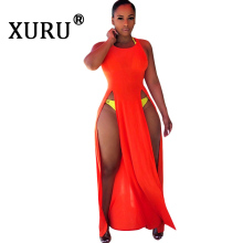 XURU summer new hot womens solid color dress sexy side slit fashion orange black