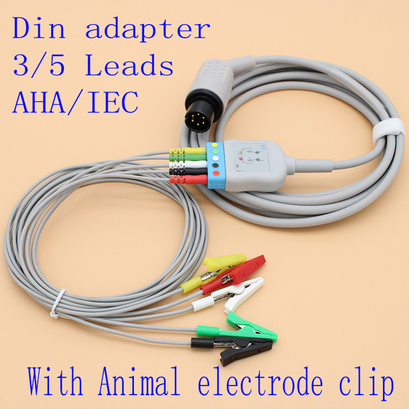 6P To DIN 3/5 Leads ECG EKG Trunk Cable With Veterinarian Alligator Electrode Clip Leadwire For Animal ECG,AHA/IEC.