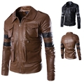 New fashion men leather jacket multi- pocket high quality slim fit PU jackets coat outwear overcoat M-3XL FREE SHIPPING