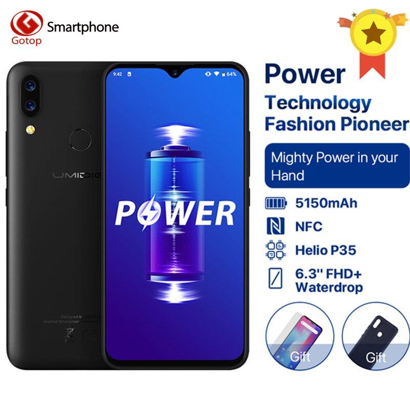 UMIDIGI 16MP Poder Android 9.0 Bateria 5150mAh + câmera 5MP 18W 6.3 'Tela FHD + Waterdrop 4GB de RAM GB ROM Helio 64 P35 Smartphone