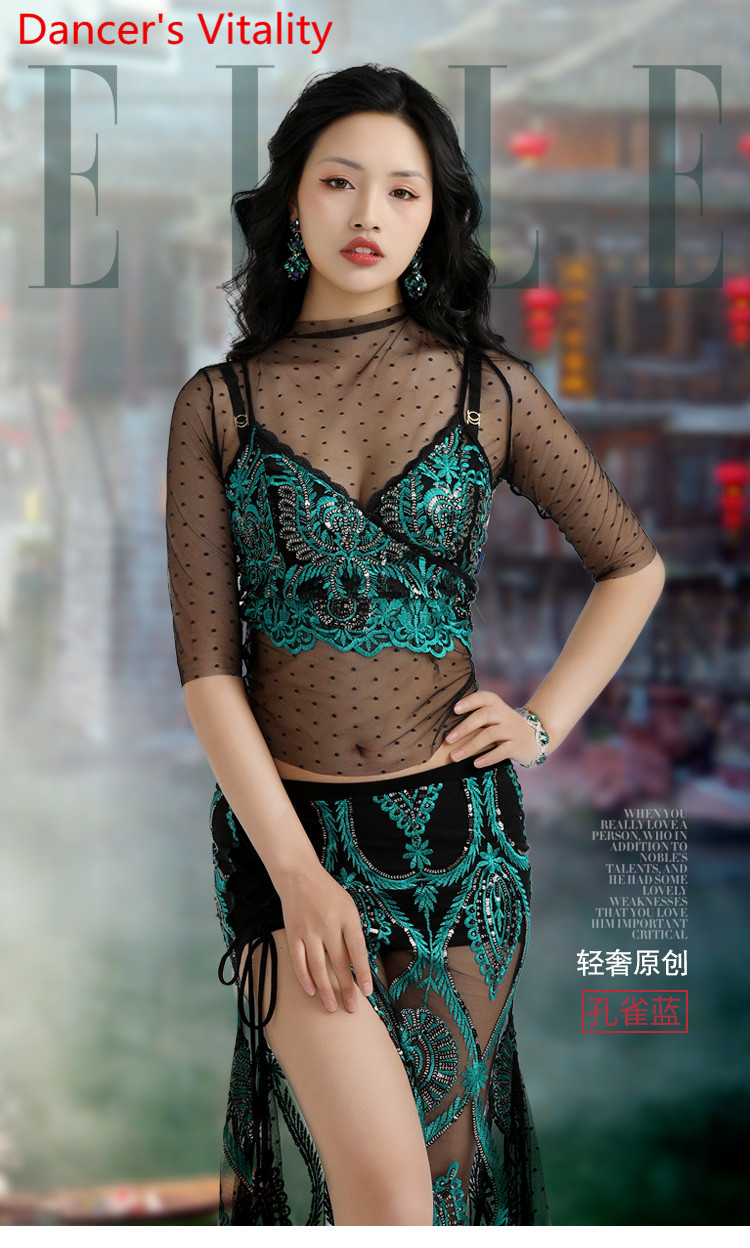Spring Summer Belly Dance Practice Clothes Garments Sequin Lace Mesh Blouse Top Skirt Indian Oriental Dancing Performance Sets
