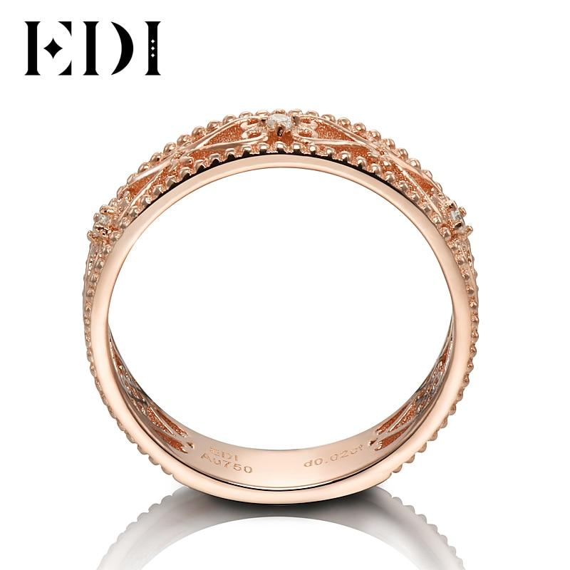 Bandas de oro rosa auténtico de 18 quilates de 0,02 cttw, anillos de boda de corte redondo para mujeres, diseño floral, regalos de joyería fina - 2