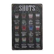 Shots cerveza cóctel menú Vintage Metal lata cartel Pub decoración de pared para Bar 20x30CM