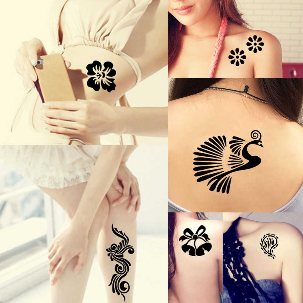 dcbf6fadb ... 5 Pieces Medium Henna Stencil + 1 Piece Black Henna Paste DIY Drawing  Hollow Tattoo Template
