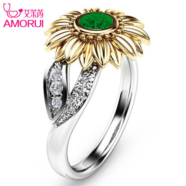 Silver Color Cute Gold Sunflower Crystal Wedding Ring 2