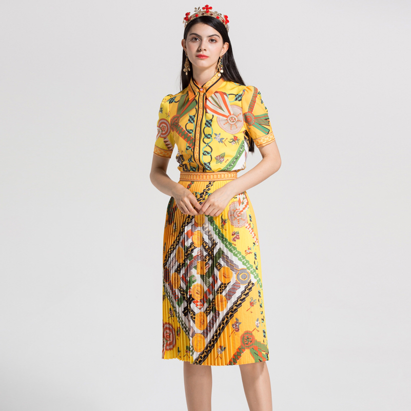 High Quality 2018 Runway Designer Suit Set Women's short sleeves yellow Floral Print Tops Blouse and Pleated Skirt Set