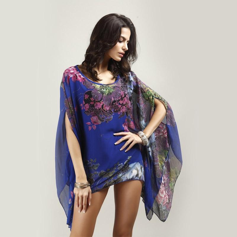HTB1rYN1LXXXXXaFXFXXq6xXFXXXa - Boho Batwing Sleeve Chiffon Blouse Women Casual Floral Kimono Shirts