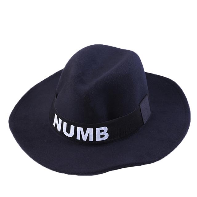 2016 mejores productos Ms inglaterra lanas del casquillo nuevo de la letra sombrero grande impresión de pura lana ocasional Tredny adultos Multicolor clásica calle