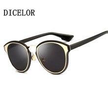 DICELOR Marca Diseño gafas de Sol Mujeres Recubrimiento Ovalado espejo UV400 7 Colores Steampunk gafas de sol para mujer gafas de sol mujer 2017 Nuevo