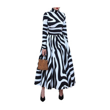 Autumn Women Elegant Zebra Print Dress A-Line Vintage Office Striped Female Evening Party Maxi Dresses