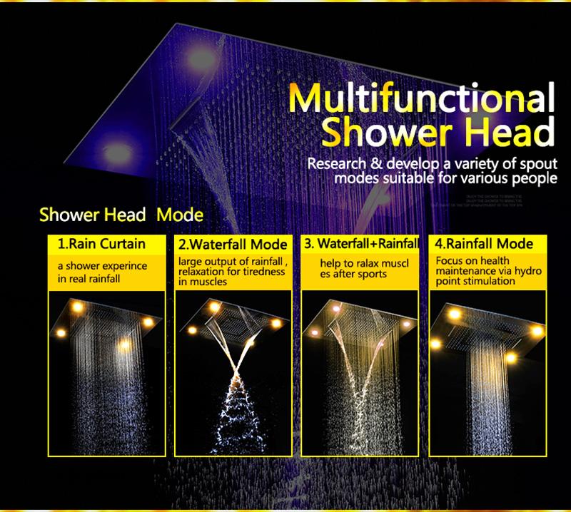 Luxurious LED Shower System Ceiling Mount Rain Head Set 31 Luxury Big Rain Shower Head Dual Rain and Waterfall Shower Sets (7)