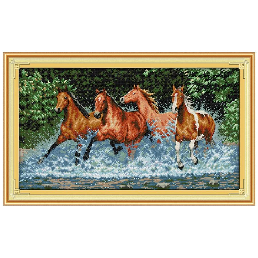Konji Uzorak broji križ Stitch 11CT Tiskani 14CT pamuk križ setovi - Umjetnost, obrt i šivanje - Foto 2