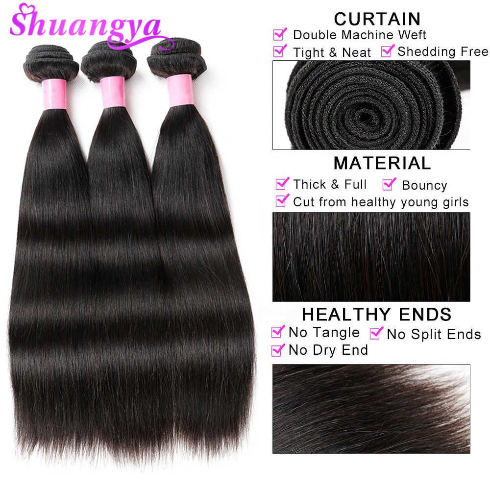 Индийский прямые волосы Связки 100% человеческих волос пучки с закрытием Shuangya Волосы remy Связки с закрытием Бесплатная доставка