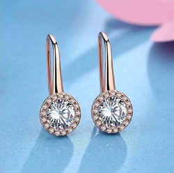 Fashion 925 Silver Rose Gold White Zircon Round Circle Drop Dangle Earrings For Women Lady Wedding Party Earrings Jewelry EZ402