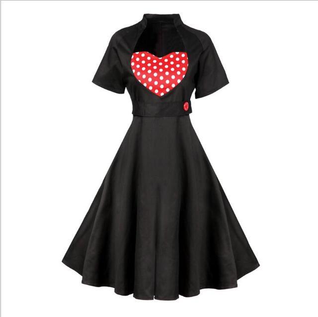 1950 s 1970 s mode retro tupfen herz hals kurzarm patchwork dress ...