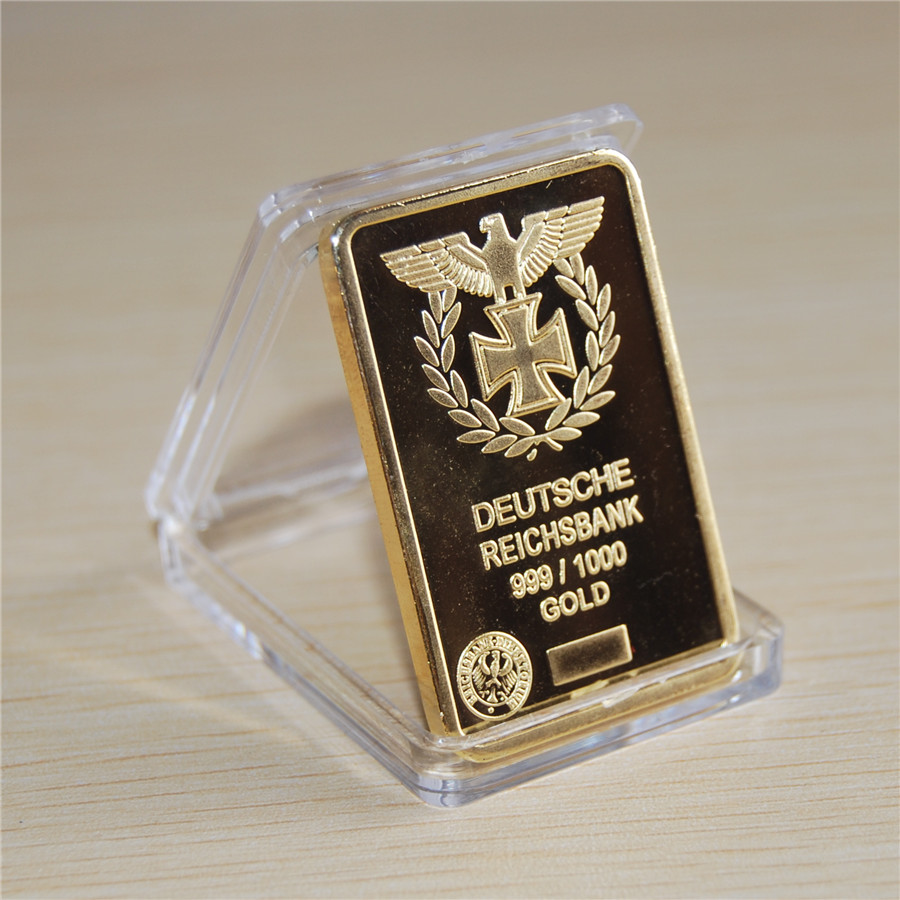 NEW 1 Oz 24k Gold German IRON CROSS BAR Deutsche Reichsbank COIN 999 1000 Eagle bullion bar Free shipping Hot sale 1pcs in Non currency Coins from Home Garden
