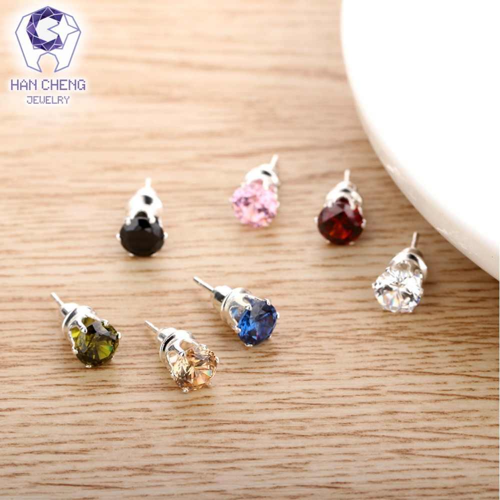 HanCheng ใหม่แฟชั่นทองแดงเงินเล็บ Zircon CZ อัญมณีหินขนาดเล็กรอบ Stud ต่างหูสำหรับผู้หญิงเครื่องประดับ brincos bijoux
