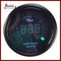 "NEW BLACK 2 ""52mm 20LED Digital Blue Led Air Fuel Razão de Bitola Métrica"