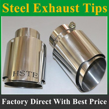 Newest Style silvery stainless steel universal exhaust system end pipe+silvery stainless steel HSTE car exhaust tip 1 piece