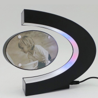 C Shape Electronic Magnetic Levitation Floating Photo Frame With LED Lights Novelty Gift Decoration Home