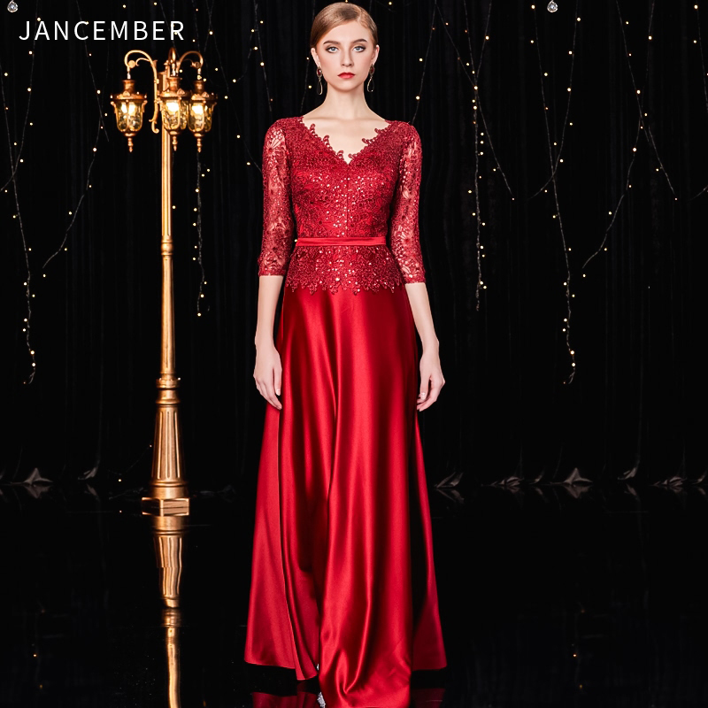 JANCEMBER   cocktail     dresses   Scalloped Straight Three Quarter Floor-Length Cut-Out Sashes Sequined Latest Women платье коктельное