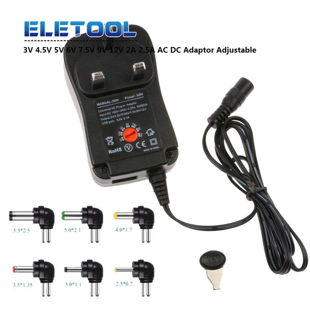 3V 4.5V 5V 6V 7.5V 9V <font><b>12V</b></font> 2A 2.5A AC <font><b>DC</b></font> <font><b>Adaptor</b></font> Adjustable Power Adapter Universal Charger Supply for led light strip lamp 30W image