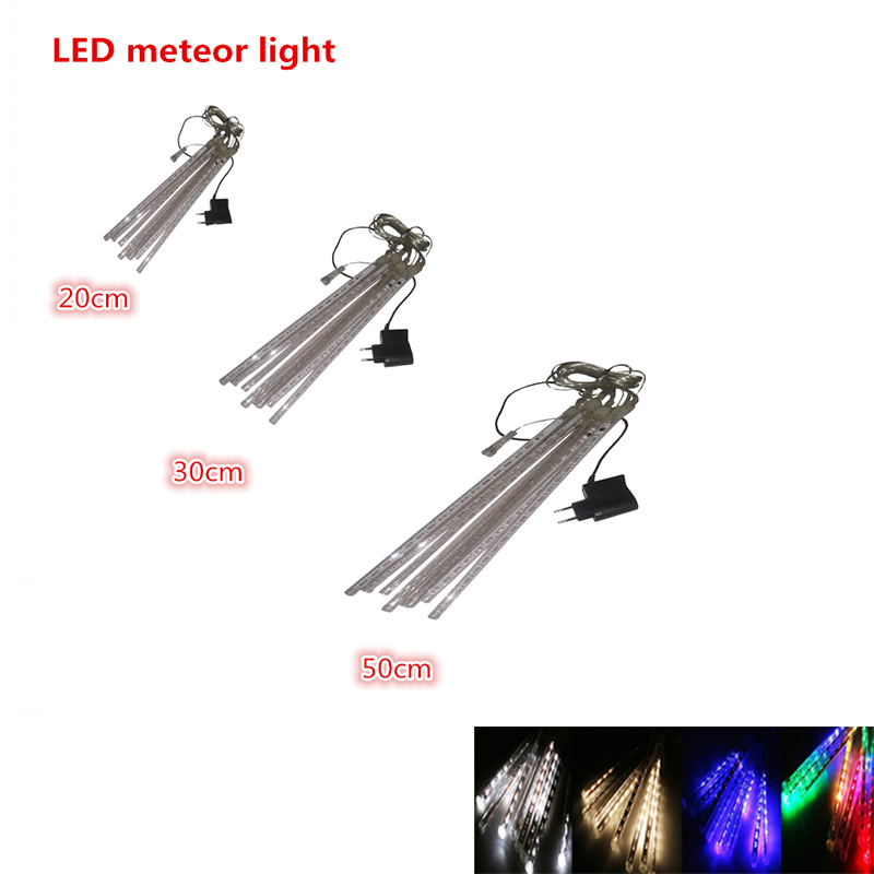 20cm 30cm 50cm meteor shower outdoor led tube strings christmas lights 8 tubes waterproof for party