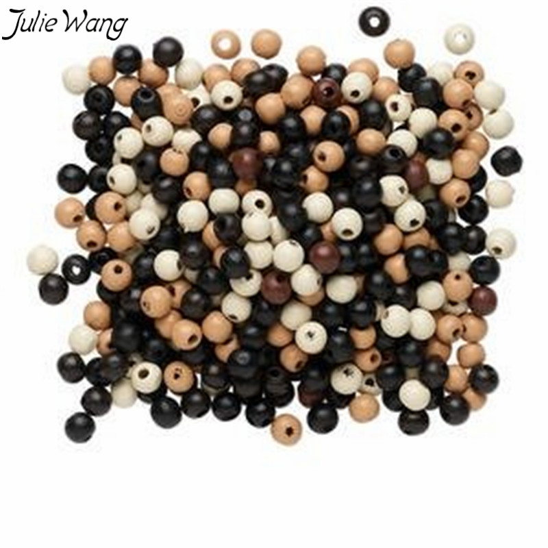 Julie Wang Wholesale 300PCS Polished Wood Bead Black White Bronze Mixed Color Handmade Women Men Bracelet Anklet Jewelry Finding(China)
