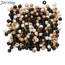 Julie Wang Wholesale 300PCS Polished Wood Bead Black White Bronze Mixed Color Handmade Women Men Bracelet Anklet Jewelry Finding