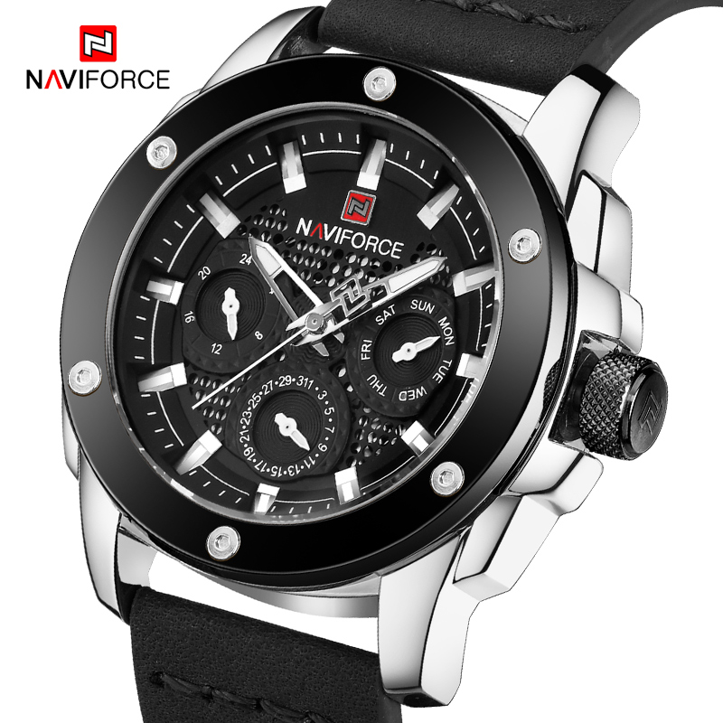 NAVIFORCE Mens watches Leisure Quartz Wristwatch Luxury Brand man Waterproof Military Sport Leather Clock relogio masculino цена и фото