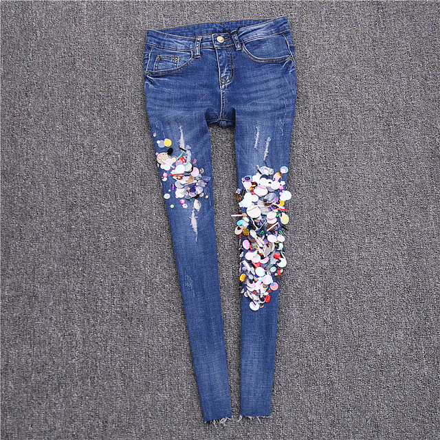 2017 new spring high waist skinny jeans female plus size elastic ankle length trousers slim women fashion pencil jeans