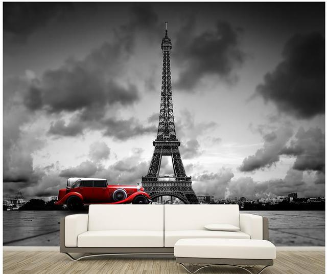 custom 3d wallpaper Paris Eiffel Tower black and white color car